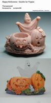 Happy Halloween - Candle Jar Topper by sculptor101