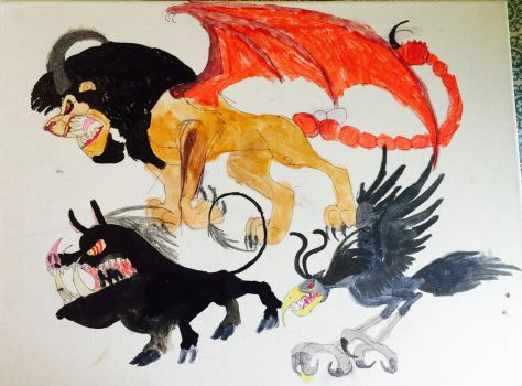The Giant Boar, The Manticore, And The Giant Bird by masonthetrex