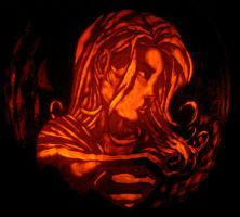 Supergirl Pumpkin by rjclrutter