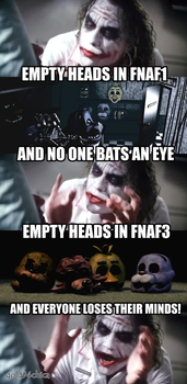Joker reacts to the FNAF fandom after the end of 3 by gold94chica
