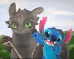Toothless and Stitch by billywallwork525