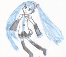 Miku Hatsune in Jap Ink Paint by Rini2012