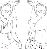 Mona and Misa Lineart by Faunella