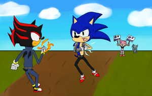 Sonic vs Shadow  by nintenfan96