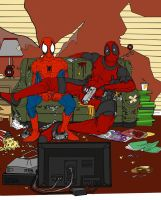 Deadpool and Spidey Hangin out by Lycanthro54
