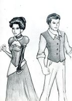 Victorian Era Bruce and Diana by JustTheCleric
