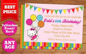 Hello Kitty Birthday Invitation Template #3 by templatemansion