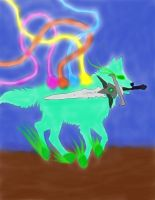 Wolf With Sword And Wings Pen by daylover1313
