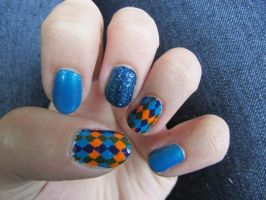 Harlequin Nails by QueenAliceOfAwesome
