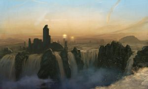 Speedpaint :: Waterfall City by MissWiggle