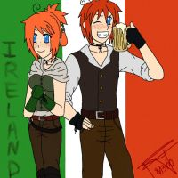 Hetalia OCs: N. and S. Ireland by akatsukiyaoiluvr