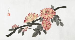 sumi-e: chrysanthemum 2 by Lunael