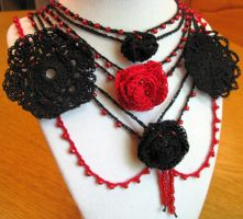 Gothic Rose Choker by doilydeas