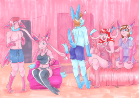 .:SylveonSleepover:. by pitch-black-crow