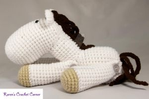 White and Brown Jointed Amigurumi Horse by karenscrochetcorner