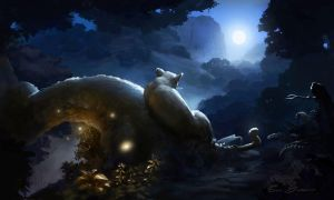 Forest Night Scene by Catic