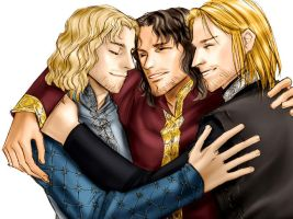 Aragorn, Boromir and Faramir by idolwild