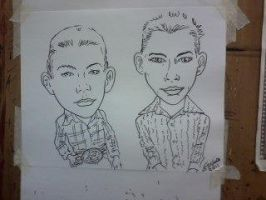 Black and white caricature cowboy kids by scottynobody