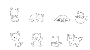 Ms Paint Friendly Free Lineart: Kitties by HappyDucklings