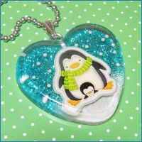 Winter Penguin Resin Necklace by bapity88