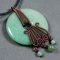 Copper and Aventurine Donut Necklace by Gailavira