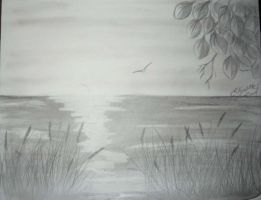 Lake Superior Pencil art by Lizbeth-Lund