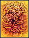 oldpaintingrevisited digital yellow red spiral by santosam81