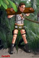 Lara Croft in stocks by cordefr