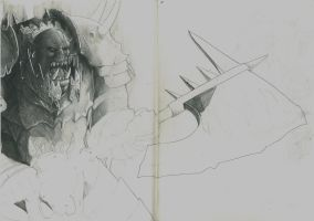 Warhammer Inspired Orc Sketch by RRJones