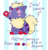 Zorua/Growlith Auction Closed by PinkMelodii