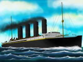 RMS Lusitania at sea by Danielpandu