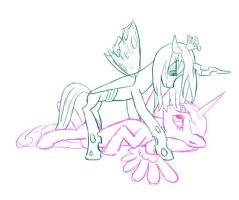 Cadance and Chrysalis (sketch) by 3luk