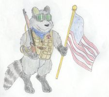 The Raccoon Soldier by Traxer