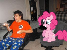 Pinkie Pie watches me play Wii! by pinkies-biggest-fan