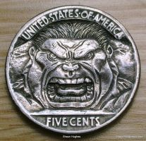 Hobo Nickel The Incredible Hulk Buffalo Nickel by shaun750