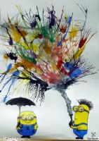 Minions at the Color Rain!! by LightningCracks