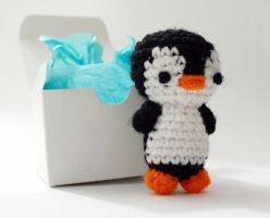 Penguin and Box by tinyowlknits
