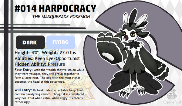 Pokemon Fate and Will Dex #014: Harpocracy by OzoneFruit