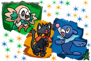 Pokemon Sun and Moon Starters by Magicwaterz16