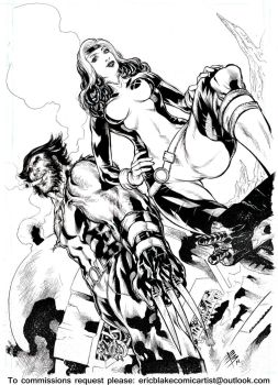 Wolverine and Rogue X-men by E-Blake