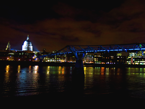 Millennium Bridge and St. Paul's Cathedral by krissycupcake
