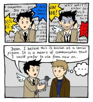 Castiel vs Phone Spam by blackbirdrose