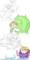 Monsters inc x Hetalia, Omg. [Sketchdump] by NerdyJones