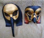 Thoth and Horus Leather Masks by merimask
