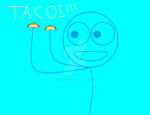 Dick Figures - Blue holding his two tacos by SuperMarioFan65
