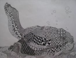 Zentangled Turtle by TakaTheSquirrel
