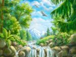 Landscape with small waterfall - WP by rosinka