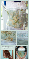 Blue Floral Victorian Corset by kaedralynn