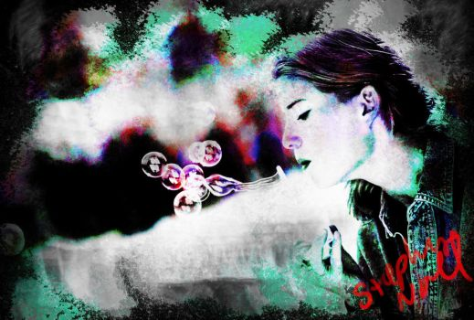 Girl Blowing Bubbles by metalartist2