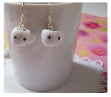 Hot chocolate dangle earrings by FairysLiveHere